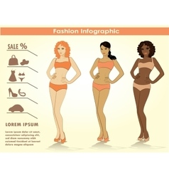 Fashion infographicsthree girls vector