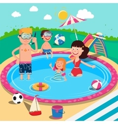 Happy family in swimming pool summer vacation vector