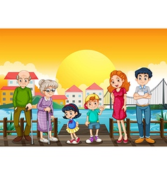 A family at the port vector image