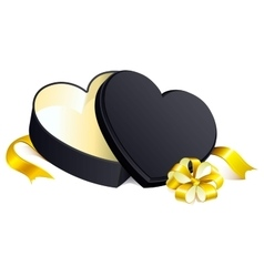 Black gift open box heart shape vector image vector image