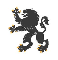 Black heraldic lion vector