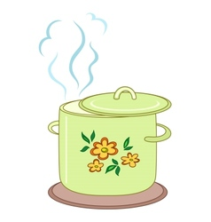 Boiling pan with pattern vector image