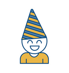 Boy with party hat icon vector