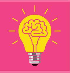 Brain bulb idea concept vector