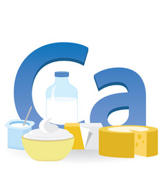 Calcium and dairy products vector