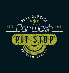 Car wash and pit stop emblem vector