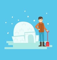 Cheerful boy building a snow castle winter vector
