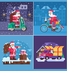 Christmas gift delivery concept scenes vector