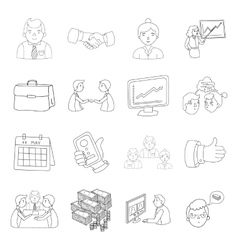 Conference and negetiations set icons in outline vector