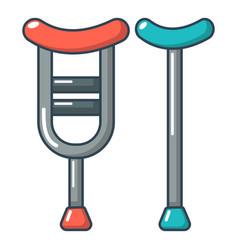 Crutch icon cartoon style vector