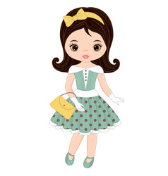 cute little girl in retro style vector image