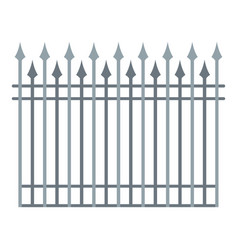 Fence with metal rod icon flat style vector