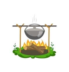 Food Preparing On Bonfire vector image