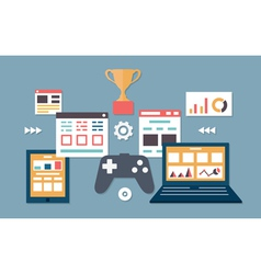 Gamification in business Management and analytics vector image vector image