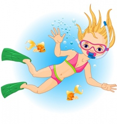 girl swimming under water vector image