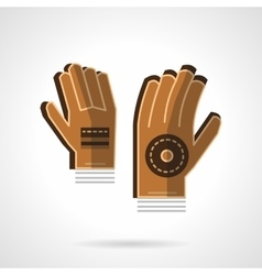Goalkeepers gloves flat color icon vector