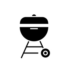 grill charcoal icon black vector image
