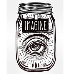 Hand drawn wish jar with eye in it vector image