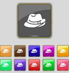 Hat icon sign set with eleven colored buttons for vector