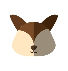 Head dog brown ears shadow vector