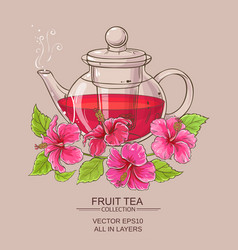 Hibiscus tea in teapot vector
