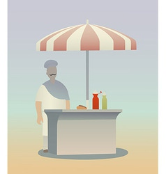 Hot dog seller vector image vector image
