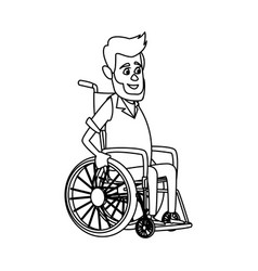 old man character disabled sitting in wheelchair vector image