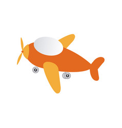 Orange toy airplane fly icon vector