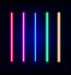 Realistic bright colorful laser beam vector