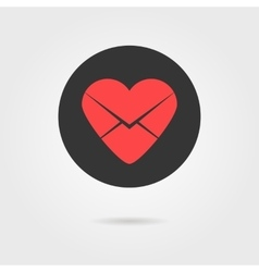 red heart in black circle like love letter icon vector image vector image