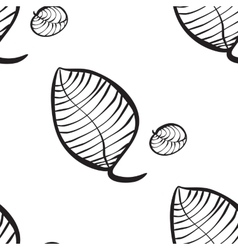 Seamless pattern of hand-drawn leaves vector