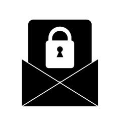 Silhouette email message security system vector
