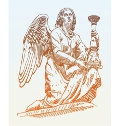 sketch drawing of marble statue angel from Rome vector image vector image