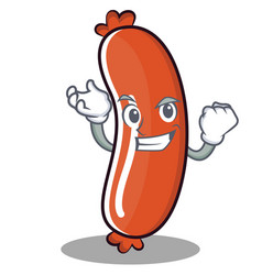 Successful sausage character cartoon style vector