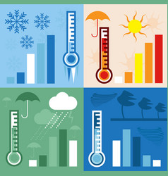 thermometer and condition of weather horizontal vector image