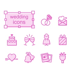 Thin line icons set wedding vector