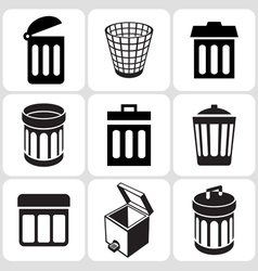 trash icons vector image vector image