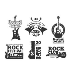 Vintage heavy rock jazz band guitar shop music vector