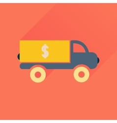 Flat icon with long shadow car transportation vector