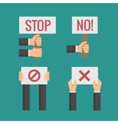 Hands holding no stop cross forbid protest vector