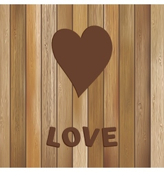 Heart in wood background template EPS8 vector image