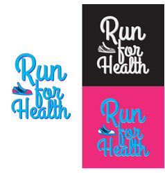 Run for health collection of three logotypes vector
