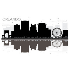 Orlando city skyline black and white silhouette vector