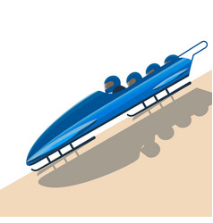 People moving down on bobsled on high speed vector