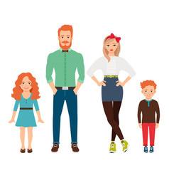 Happy family in casual clothes vector
