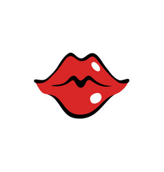 Kissing female mouth with red lips vector