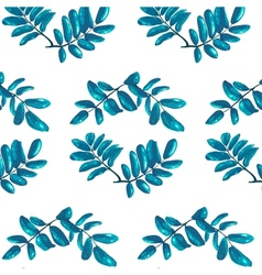 Rhombic blue leaves seamless pattern vector