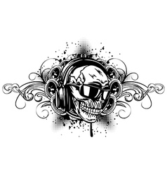 Skull in headphones sunglasses and patterns vector