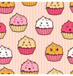Seamless kawaii cartoon pattern with cute cupcakes vector image