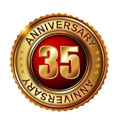 35 years anniversary golden label vector